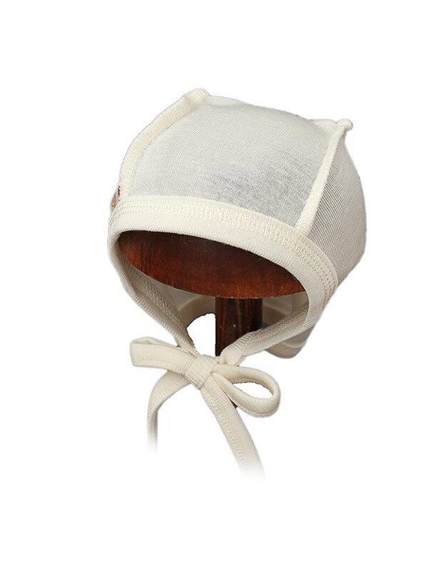 Lorita plona merino vilnos vaikiška kepurė, smėlio spalvos