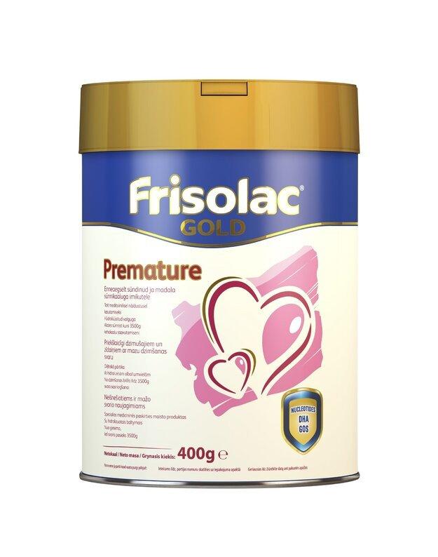 FRISOLAC GOLD PREMATURE specialios paskirties pieno mišinys neišnešiotiems ir mažo svorio naujagimiams, 400 g