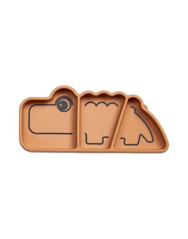 Done by Deer prilimpanti silikoninė lėkštė su skyriais Stick & Stay Croco, ruda