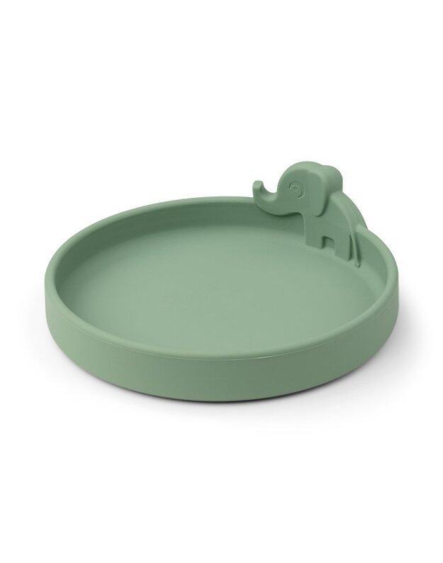 Done by Deer neslystanti silikoninė lėkštutė Peekaboo, žalia